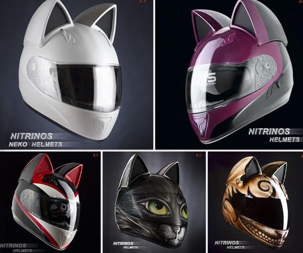 Casque moto oreilles chat